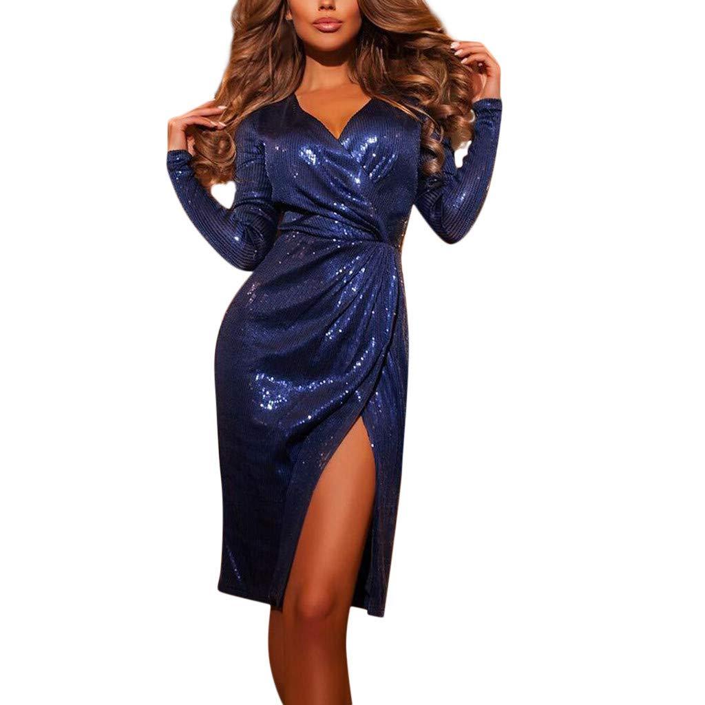 MEIbax Damen Schulterfrei Kleider Elegant Maxikleider Glänzend Hoch Geschnitten Abendkleider Partykleid Wickelkleid Lange Kleider