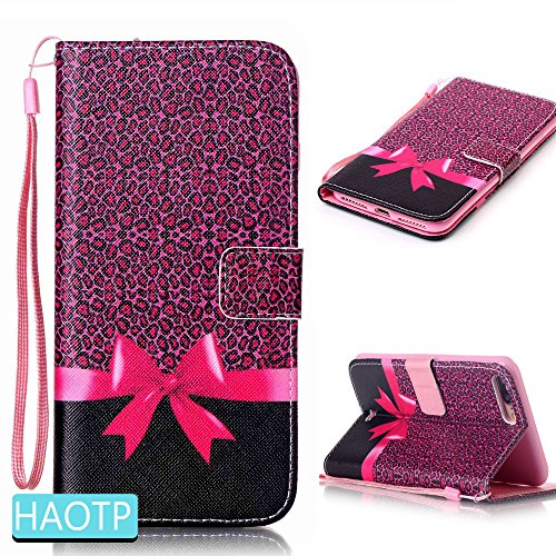 iPhone 7 Plus Case,HAOTP(TM) Beauty Luxury Fashion PU Flip Stand Credit Card ID Holders Wallet Leather Case Cover for iPhone 7 Plus (Pink Bow)