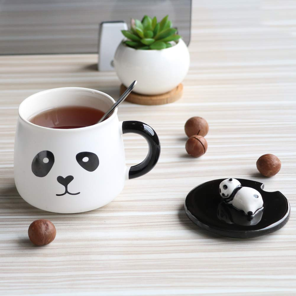 EPFamily Cute White 3D Panda Mug Funny Porcelain Coffee Mugs Set Small Ceramic Tea Cups Black with Lid and Spoon Gifts for Women Men Mom Grandma 14 Oz-C by EPFamily (Image #3)