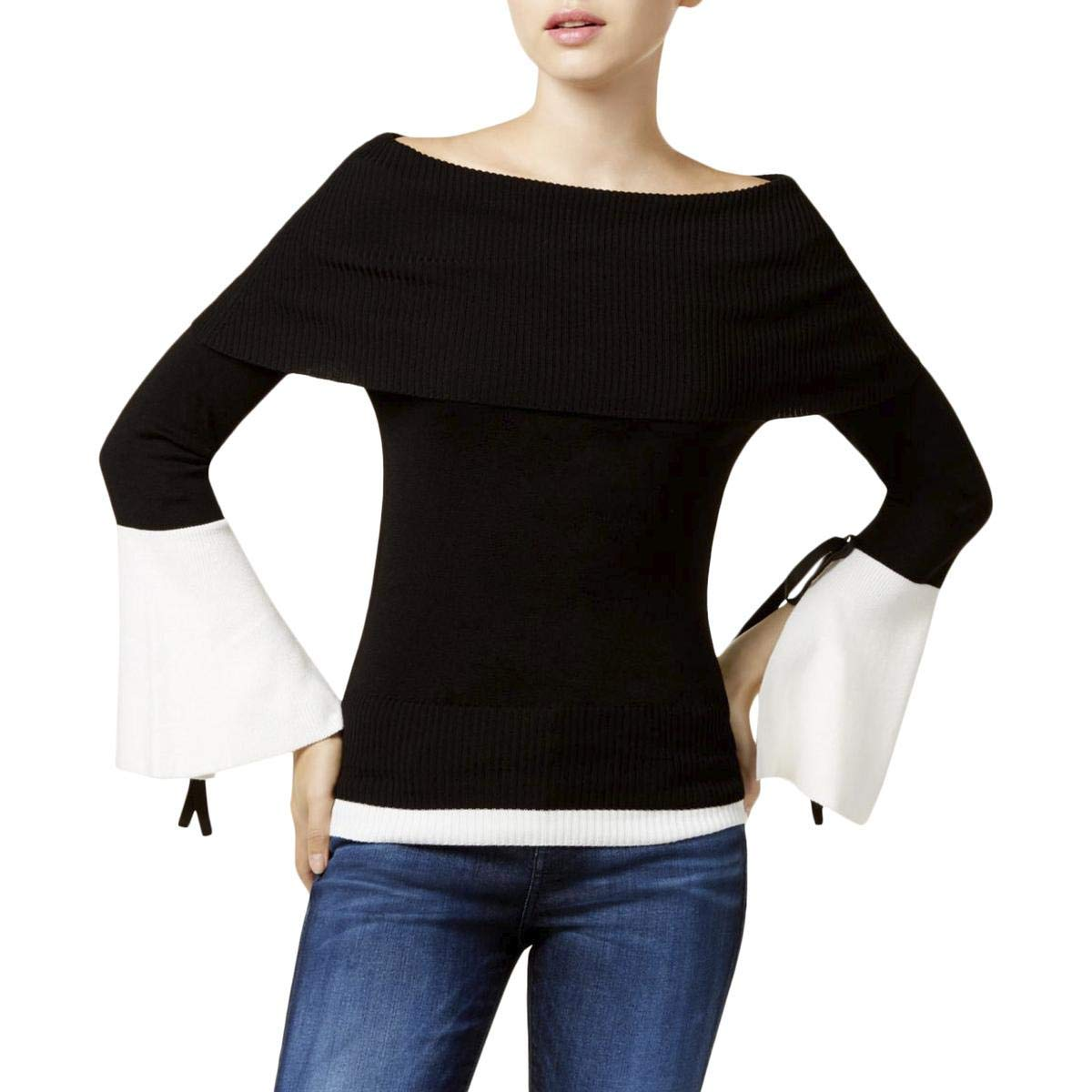 XOXO Juniors' Off-The-Shoulder Bell-Sleeve Sweater (Black, Large)