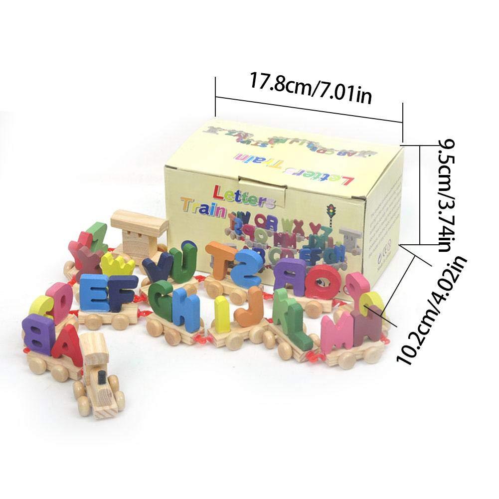 SHOH Alphabet B/éb/é Jouet en Bois Lettres Anglaises Enfants Train Jouets 26 Cube Dactivit/é Centre Dactivit/é en Bois pour Les Tout-Petits-Activit/é en Bois Jouets Apprendre Puzzle