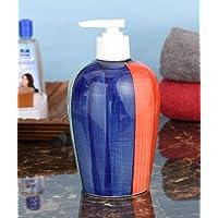 Sforzi Handmade Ceramic handwash Liquid soap Dispenser/Shampoo Dispenser/Lotion Dispenser/Gel Dispenser - 450 ML - Blue, Red and Green - Bathroom and Kitchen Decorative Item