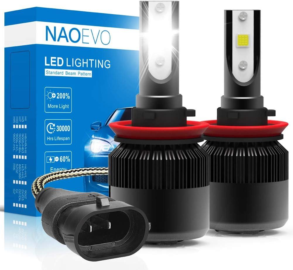 LED Headlight Bulb Pair 72W 7600LM H11 6000K Conversion Kit White High Low Bean