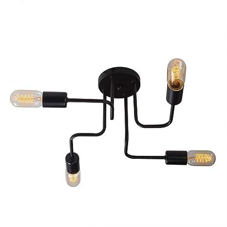 YUENSLIGHTING Lámpara de Techo Moderno Lámpara de Techo para Empotrar Lámpara de Sala con 4 E26 Soporte para Bulbo Sockets 240W Negro