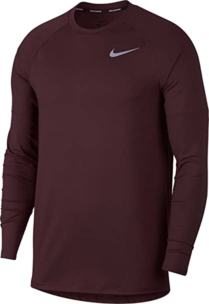 270813d7 NIKE Men's Element Crew Running Long Sleeve Tee (Burgundy Crush, Medium)