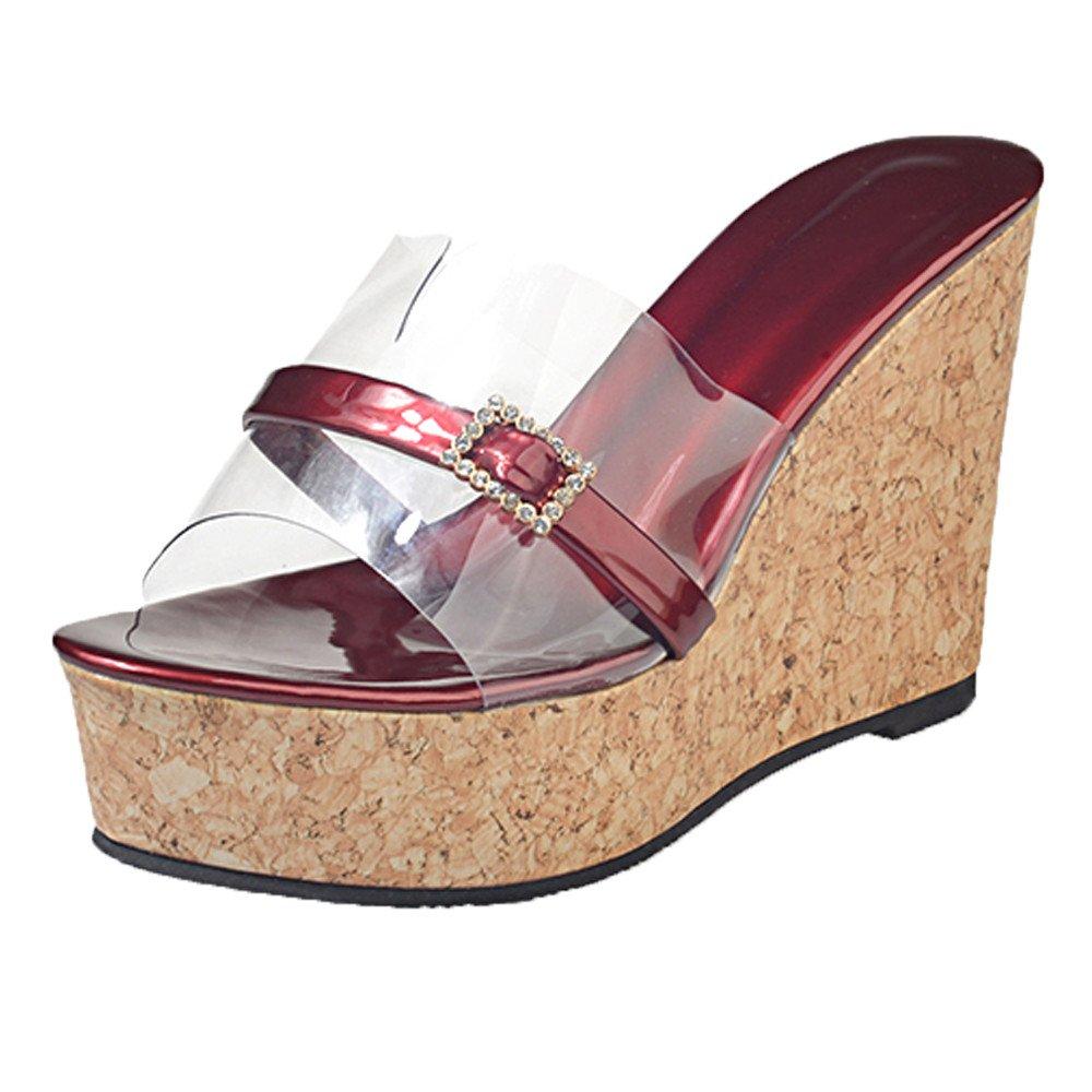 Sommer Transparent Slipper,Resplend Damen Mode Elegant High Heel Sandalen Keilsandalen Plateauschuhe Fish Mouth Hausschuhe Mit Strass