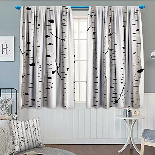 (Strongger Birch Tree Blackout Window Curtain Forest Seasonal Nature Woodland Leafless Branches Grove Botany Illustration Customized Curtains 52