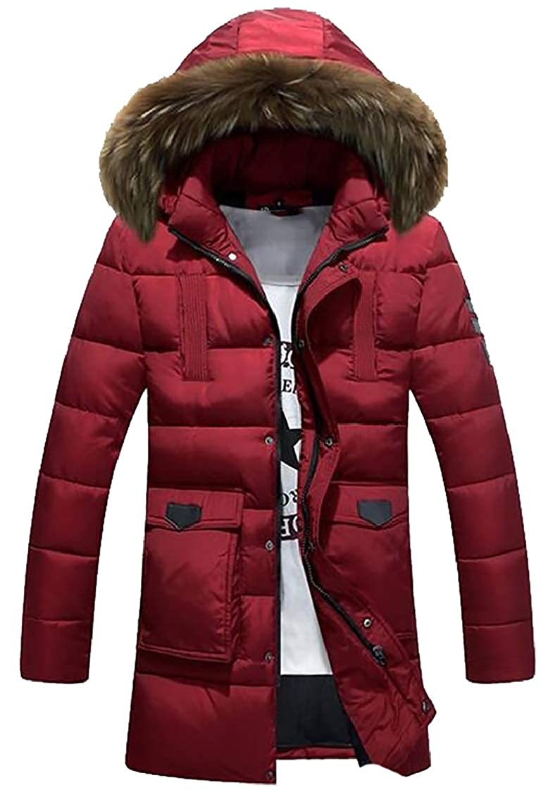 GAGA Mens Outdoor Casual Outwear Fur Hooded Qulited Cotton Down Jacket