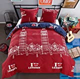 LAMEJOR Duvet Cover Sets Queen Size I Love London Pattern Bedding Set Comforter Cover (1 Duvet Cover+2 Pillowcase)