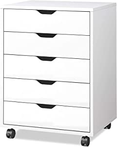 Mobile Lateral Filing Cabinet - Wheels Rolling Filing Cabinet, Printer Stand with Open Storage Shelves for Office and Home (5-Drawer White)