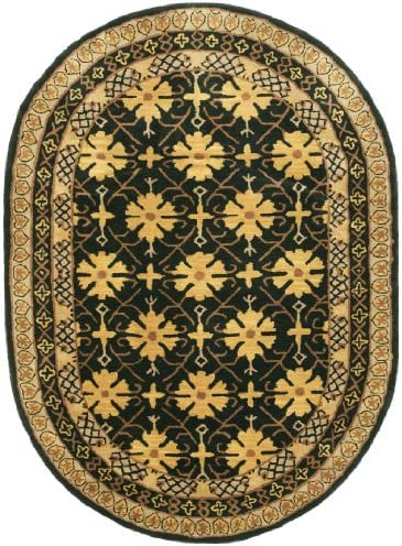 Safavieh Classic Collection CL303C Handmade Traditional Wool Area Rug, 7 6 x 9 6 Oval, Green Apricot