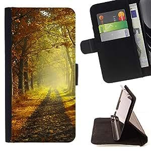 Momo Phone Case / Flip Funda de Cuero Case Cover - Ma?ana de oto?o - Motorola Moto E ( 2nd Generation )
