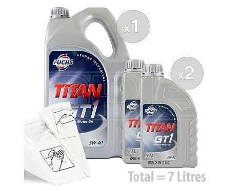 Fuchs Titan GT1 XTL 5 W-40 Aceite de motor totalmente sintético – Servicio Bundle