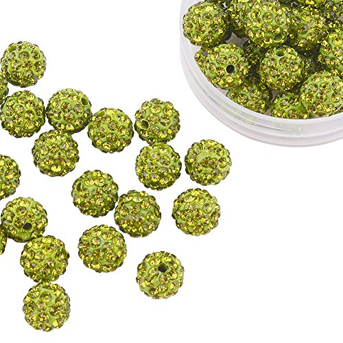 Pandahall 100 Pcs 10mm Olivine Shamballa Pave Disco Ball Clay Beads, Polymer Clay Rhinestone Beads Round Charms Jewelry Makings