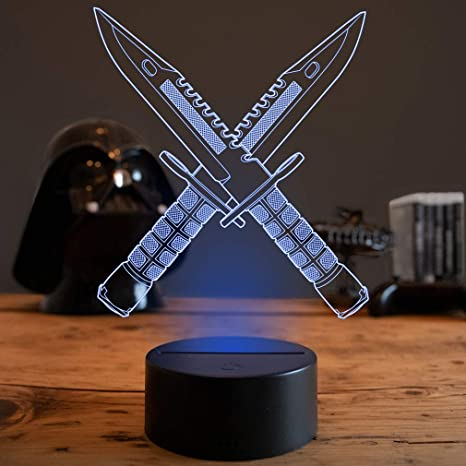 Gaming Dekoration.3d Led Deko Lampe Csgo M9 Bayonet Elbeffekt Cs Go Bajonett Messer Gaming Dekoration Bayonet Messer M9 Nerd Gamer Zocker Geschenk