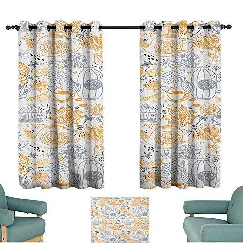 Tea Party Decorative CurtainsforLivingRoom Colorful Floral Arrangement with Teacups and Pots Kettle Retro Art Design Nature Set of Two Panels 72