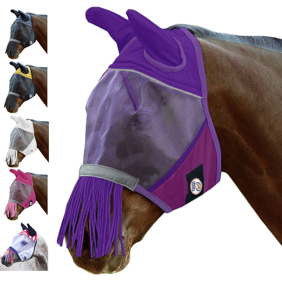 Derby Originals UV-Blocker Premium Reflective Safety Horse Fly Mask with Ears and Nose Fringe - One Year Limited Manufacturer's Warranty - Multiple Sizes and Colors