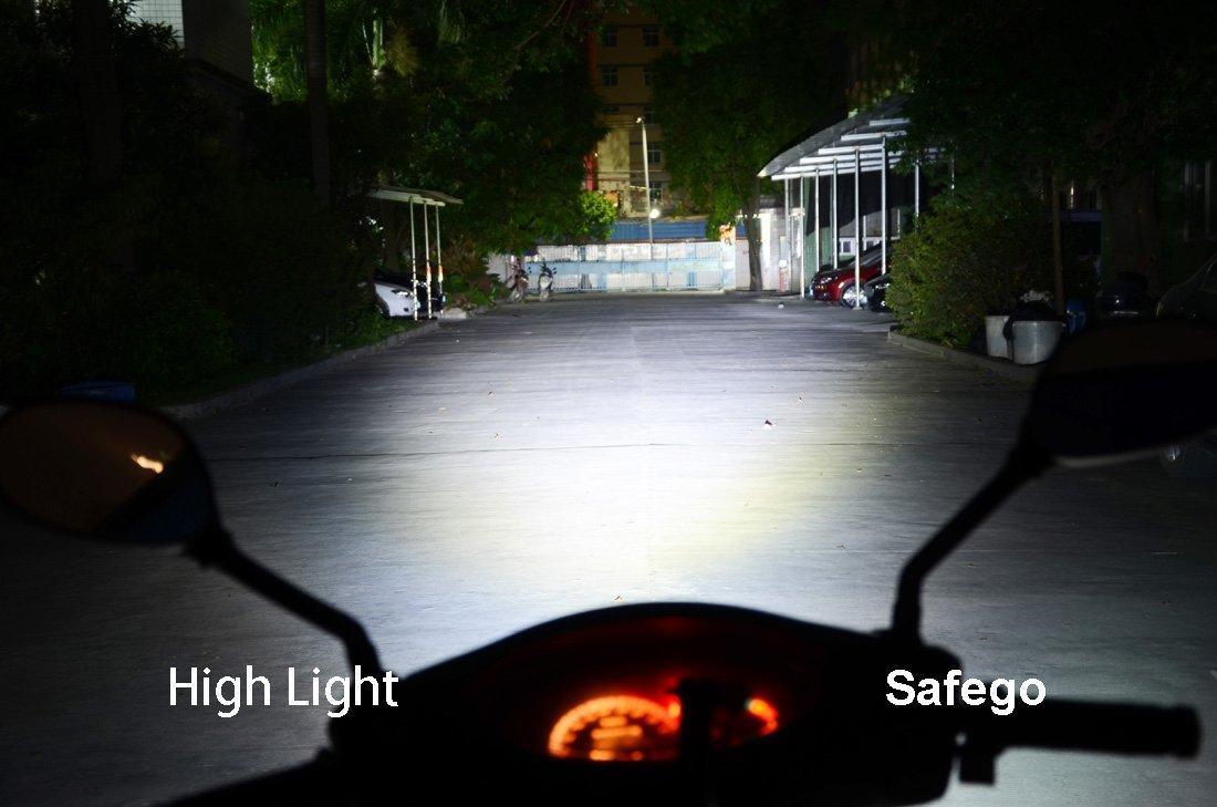 Safego H4 20W Hi//Lo COB LED Motor Bike//ciclomotor//motocicleta//scooter//ATV Faro Bombilla coche LED l/ámpara de techo headLight fog DRL bulb Diamante color blanco