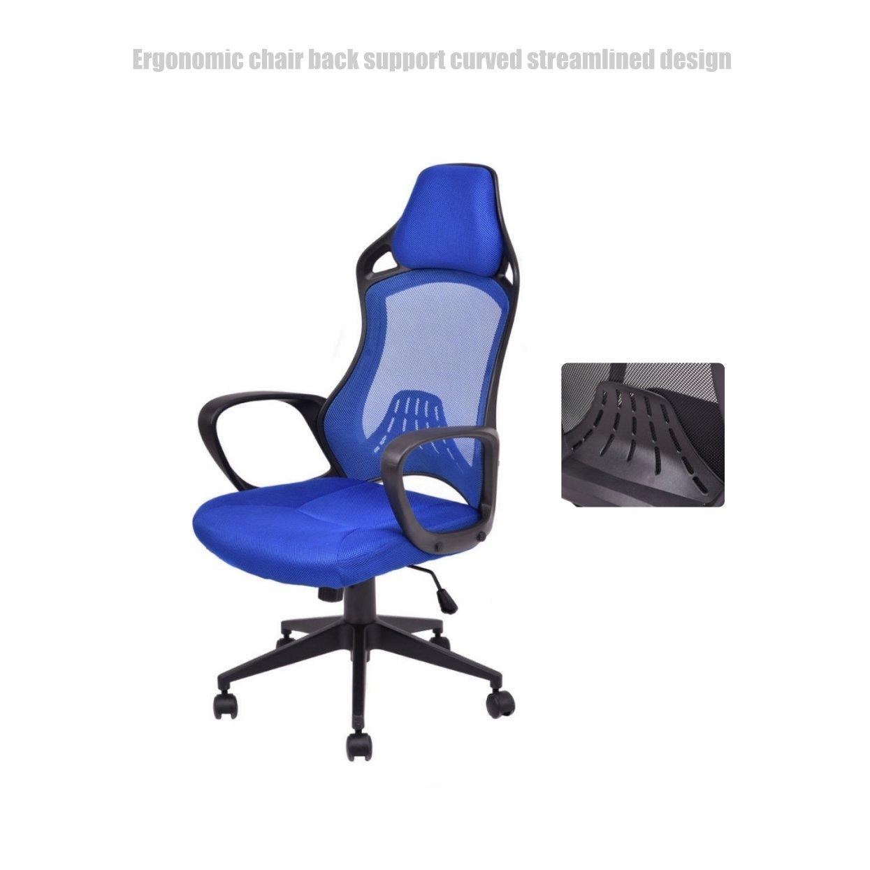 Executive High Back Race Car Style Chair Mesh Seats Soft Sponge Upholstery 360 Degree Swivel Home Office Gaming Desk Task - Blue # 1504