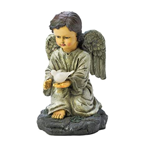 Incroyable Accent Plus Solar Statue, Angel With Dove Outdoor Yard Lights Solar Garden  Statues, Resin