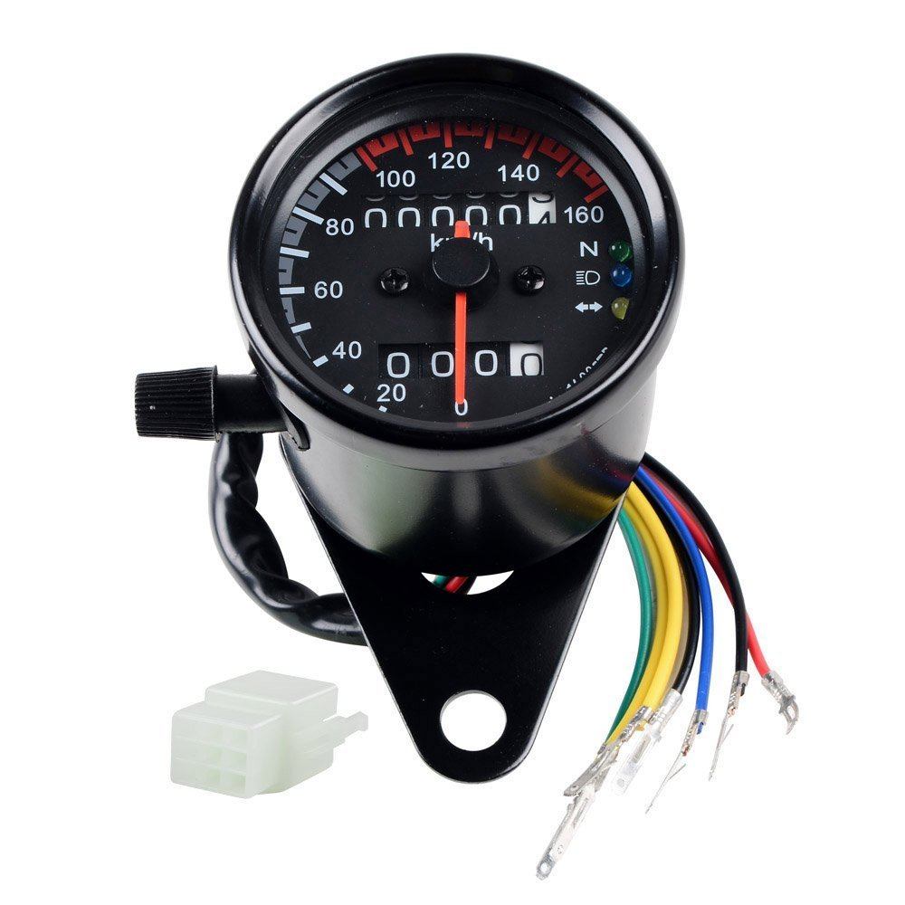 Amazon.com: DLLL Universal Motorcycle 12V Dual Odometer Speedometer ...