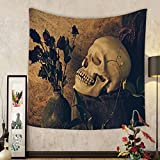 Gzhihine Custom tapestry Ambesonne Gothic Decor Collection Human Skull with Dead Dried Roses in the Vase Grunge Style Bourgeois Life Culture Photo Bedroom Living Room Dorm Tapestry Beige Black