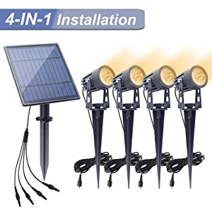 APONUO Solar Spotlights Landscape Lights Low Voltage Outdoor Solar Spotlight IP65 Waterproof 9.8ft Cable Auto On/Off with 4 Warm White for Outdoor Garden Yard Landscape Downlight (4-in-1)