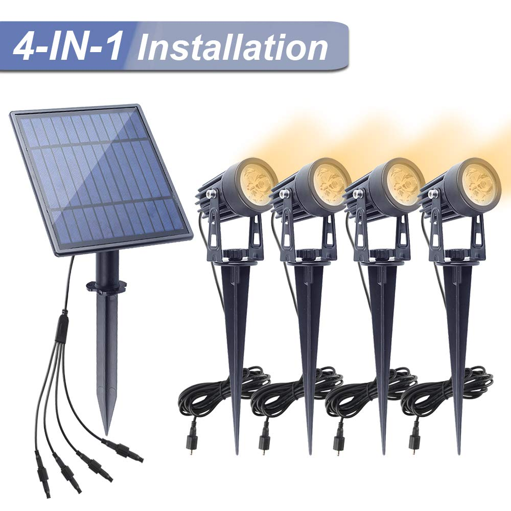APONUO Solar Spotlights Landscape Lights Low Voltage Outdoor Solar Spotlight IP65 Waterproof 16.4ft Cable Auto On/Off with 4 Warm White for Outdoor Garden Yard Landscape Downlight (4-in-1)
