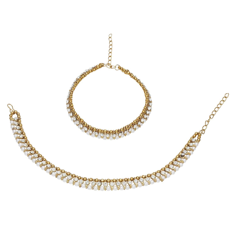 Efulgenz Indian Bollywood Gold Plated Faux Kundan Pearl Wedding Bridal Anklet Pair (2 Piece) Bracelet Payal Foot Jewelry Jaipur Art Jewellery ANK8
