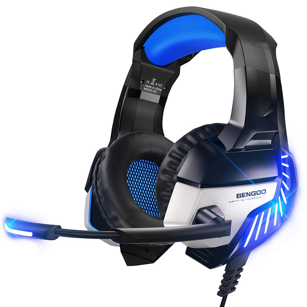 BENGOO K8 Series II Gaming Headset for PS4, Xbox One, PC, Mac, Noise Cancelling Over Ear Headphones with Microphone, Bass Surround Stereo, LED Lights Game Headset Blue
