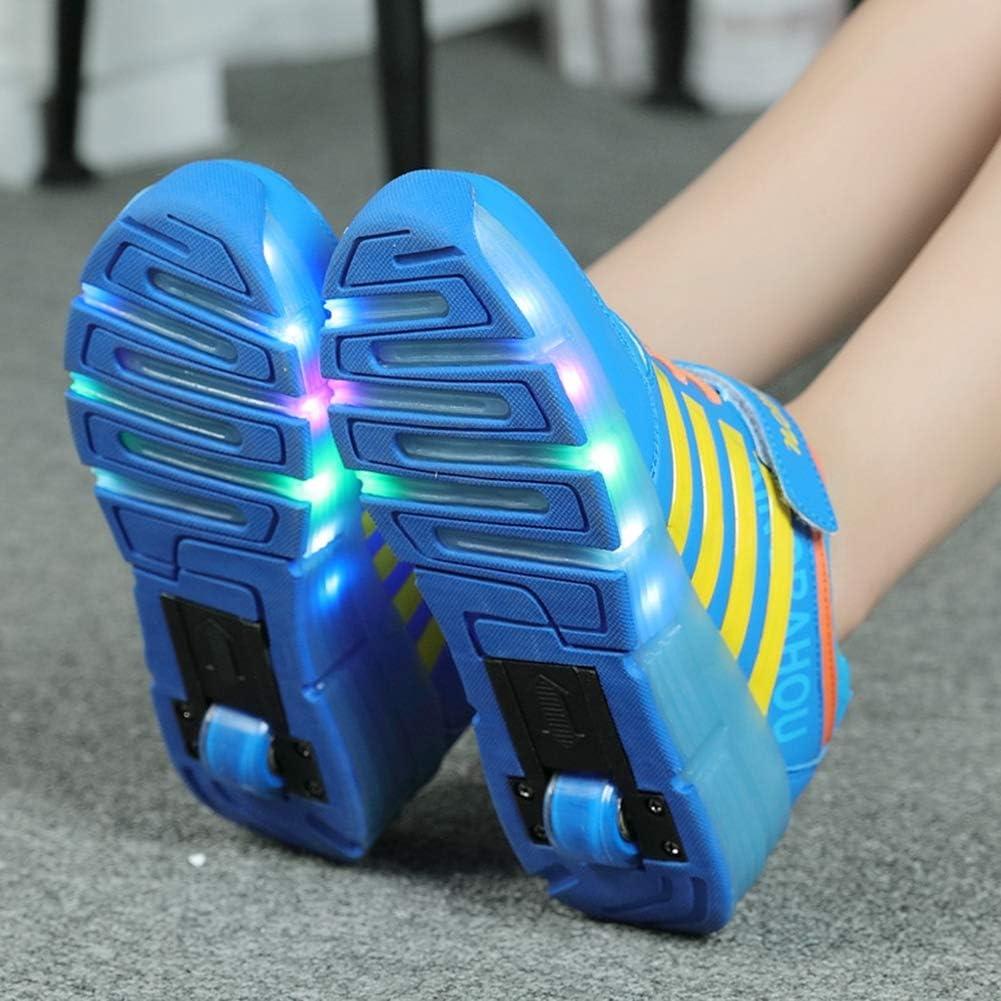 MNVOA Unisex Kinder Mode Schuhe Mit Rollen Drucktaste Einstellbare Skateboardschuhe Outdoor Gymnastik Turnschuhe F/ür Junge M/ädchen
