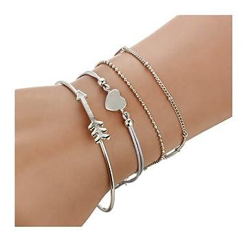 Freessom Kit de 4 Bracelet Femme Fille Ado Fantaisie Coeur Fleche Boule  Simple Chaines Boheme Boho