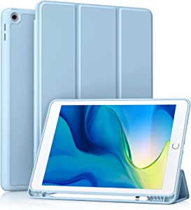 Akkerds Case Compatible with iPad 10.2 2020 iPad 8th Gen/2019 iPad 7th Gen with Pencil Holder, Protective Case with Soft TPU Back, Auto Sleep/Wake Cover Compatible for iPad 8th/7th Gen, Sky Blue