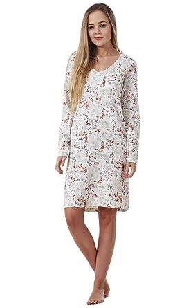 BHS Ladies Printed Cotton Nightdress Womens Long Sleeve Cami Nightie ... 38c643c03