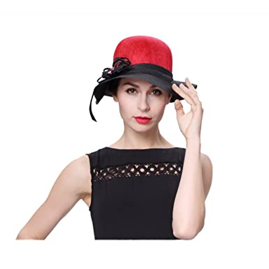 e2935ae7066 Koola s hats Lady 3 Layers Sinamay Wedding Hats Red Black Church hat  Kentucky Derby Hat at Amazon Women s Clothing store