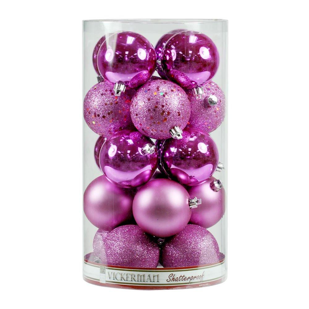 Vickerman Shatterproof Pretty 4 Finish Ornament Assortment 60 per Box, 2.4'', Pink
