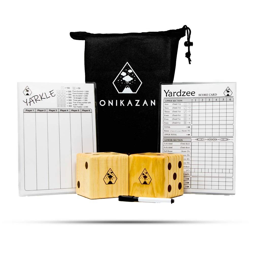 Giant Yard Dice for Outdoor Games: Large Size Wooden Set with Yardzee/Yarkle Score Card and Dry Erase Marker for Adults and Family. Yahtzee and Farkle Game for Backyard Lawn and Camping-Included.