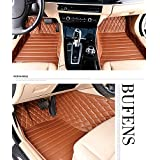 Okutech Custom Fit Luxury XPE Leather Waterproof 3D Full Set Car Floor Mats for Lexus ES 200 240 250 300 350, Brown Embroidering Sewing