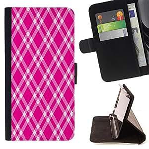 King Case - FOR Sony Xperia Z2 D6502 - Pink and white stripes - Prima caja de la PU billetera de cuero con ranuras para tarjetas, efectivo Compartimiento desmontable y correa para la mu?eca