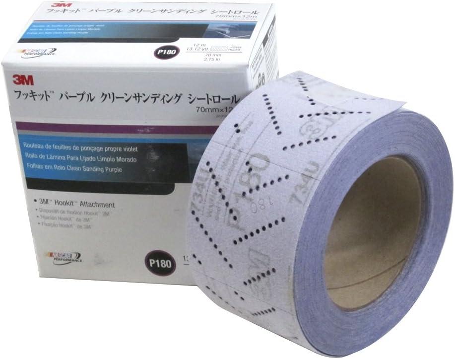 3M 30709 Hookit 734U Purple 70 mm x 12 m P180 Grit Clean Sanding Sheet Roll