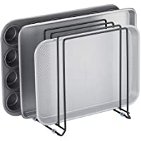 mDesign Metal Wire Organizer Rack for Kitchen Cabinet, Pantry, Shelves - Holder with 5 Slots for Skillets, Frying Pans, Lids, Cutting Boards, Vertical or Horizontal Placement - Black