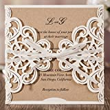 Wishmade Laser Cut Invitations Cards Sets White Rustic Square 50 Pieces for Wedding Birthday Bridal Shower and Printable Kraft Paper Kits (Pack of 50pcs)
