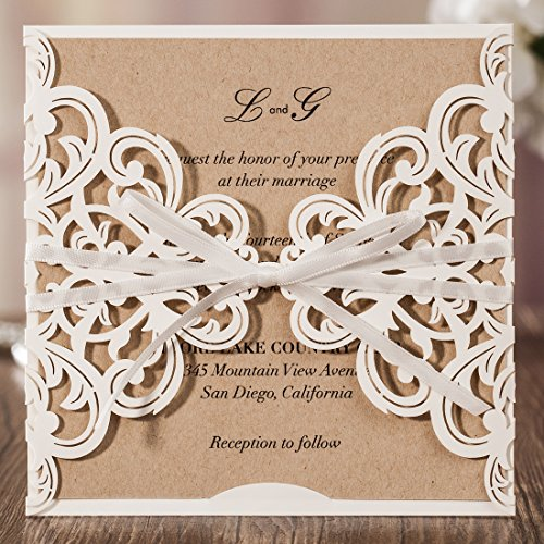 Wishmade White Laser Cut Flora Lace Invitations Cards with Ribbon Bowknot Sleeve Cards for Wedding Bridal Shower Engagement Birthday Baby Shower and Printable Kraft Paper (Pack of 50pcs)