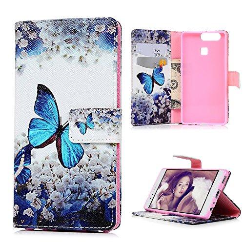 Huawei P9 Schale Tasche Drucken PU Leder Case Lanveni® Schutzhülle Handycover Handyschale Standfähig Etui mit Standfunktion und Magnetverschlus-Schmetterling