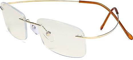 TALLA +0.00. Eyekepper Gafas bloqueo de luz azul Mujeres Hombres - Protección UV Titanio Sin montura Gafas de ordenador - Dorado