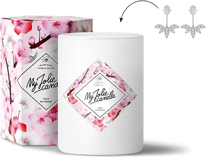 My Jolie Candle - Bougie parfumée avec bijou suprise à l'intérieur - Bijou  : Boucles d'oreilles en Argent - Parfum : Fleur de Cerisier - Cire ...