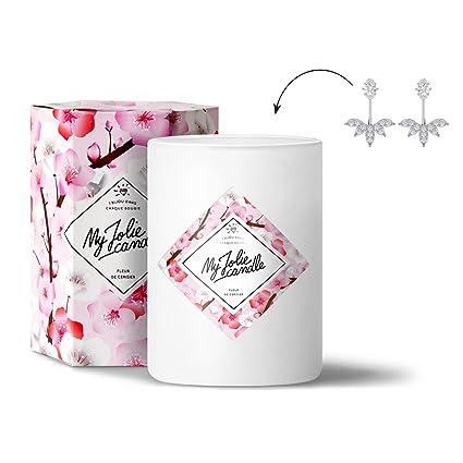My Jolie Candle Vela de aroma de flor de cerezo con joya de regalo escondida (1 par de pendientes)