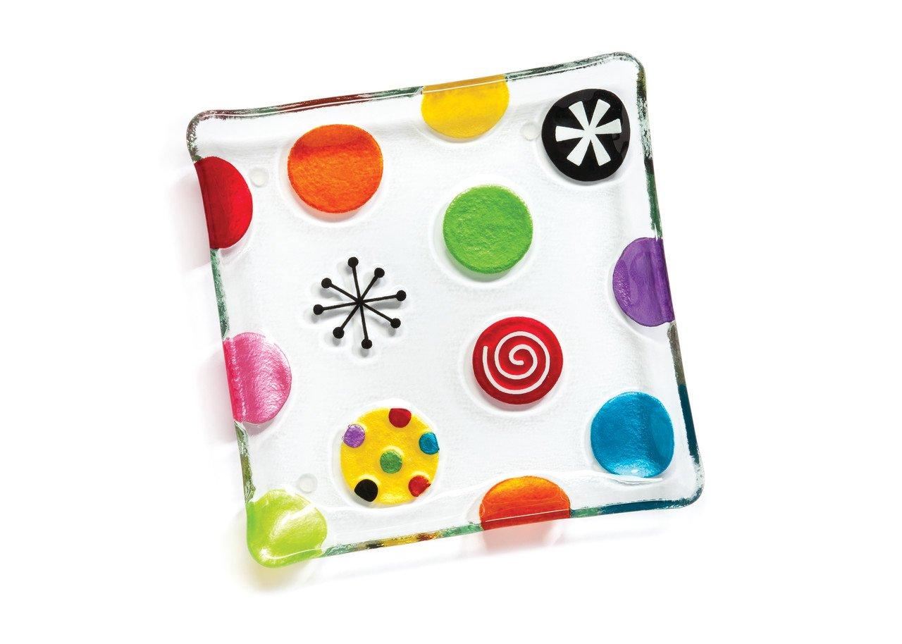 DEMDACO Silvestri Glass Fusion Dots Snack Plate