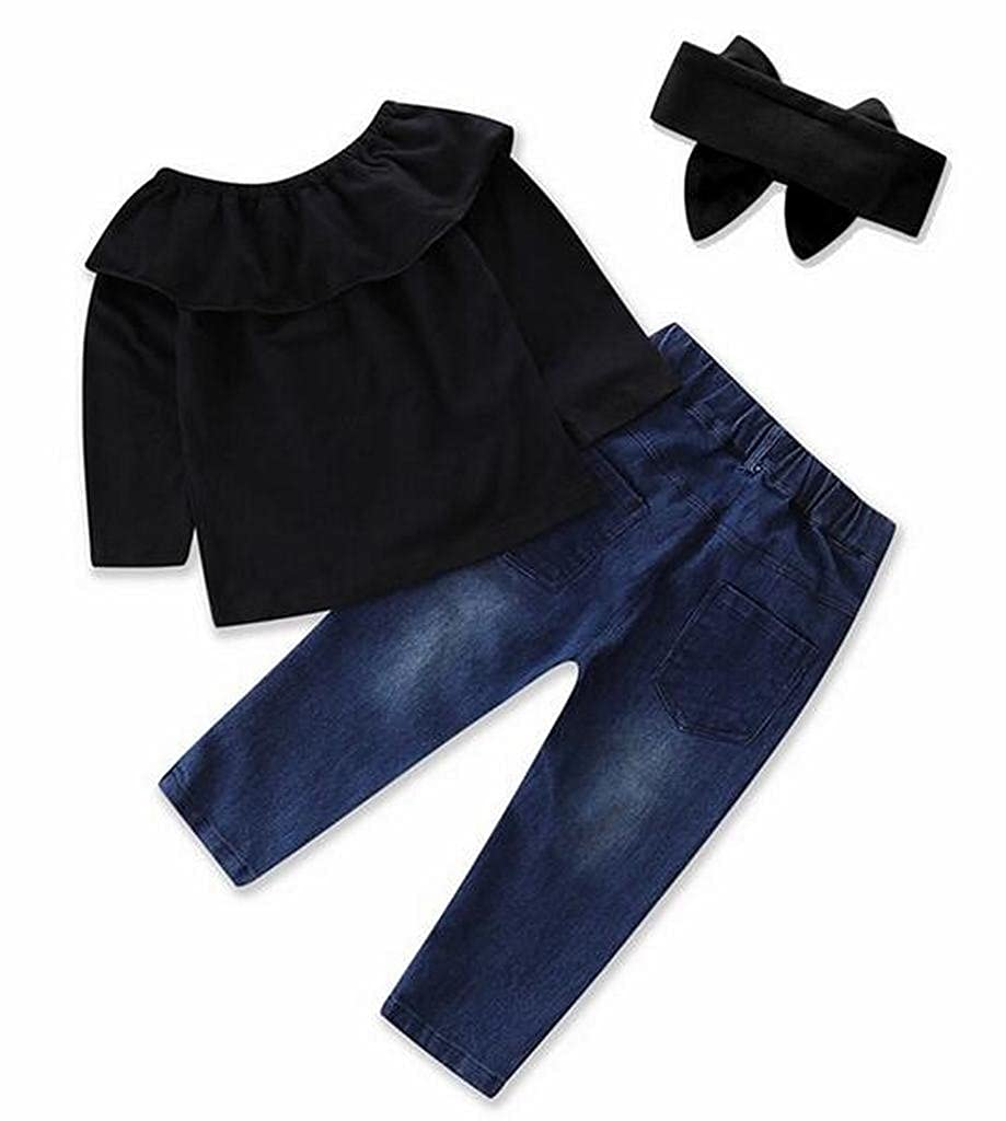 Fensajomon Little Girls Casual Off Shoulder Top Print Denim Jeans Pants 2 PCS Outfits Sets