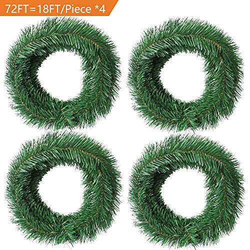 (Woooow 72 Foot Artificial Christmas Garland Christmas Decorations Non-Lit Soft Green Garland Outdoor Indoor Use- Brightens Christmas Holiday Wedding Party Festival Decor)